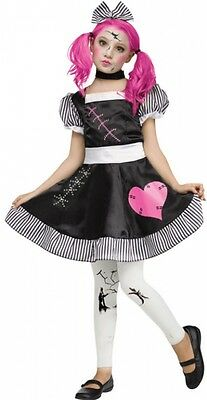 Girls Dead Broken Doll + Tights Halloween Fancy Dress Costume Outfit 4-12 years