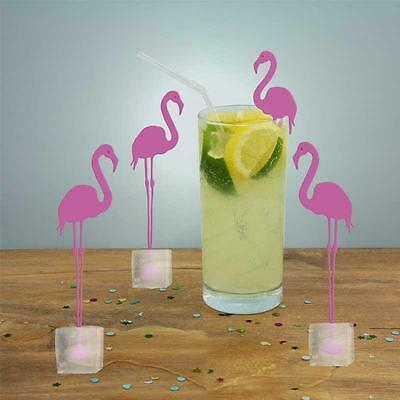 Set of 4 Flamingo Ice Stirrers Cocktail Mocktail Tea Coffe Stirrer Novelty Gift