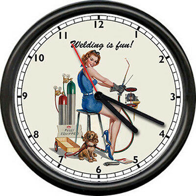 Welding Welder Sexy Pin Up Girl Pinup Retro Vintage Look Shop Sign Wall Clock