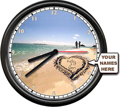 Love Your Names Wedding Valentine Day Gift Beach Ocean Decor Sign Wall Clock