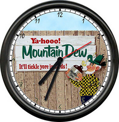 Mountain Dew Hillbilly Tickle Yer Inards Soda Pop Diner Shop Pop Sign Wall Clock