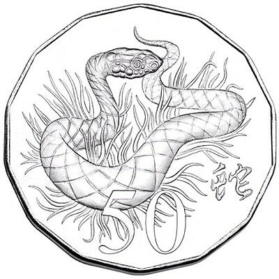 AUSTRALIA: 2013  50 CENT LUNAR YEAR OF THE SNAKE Cu Ni UNCIRCULATED