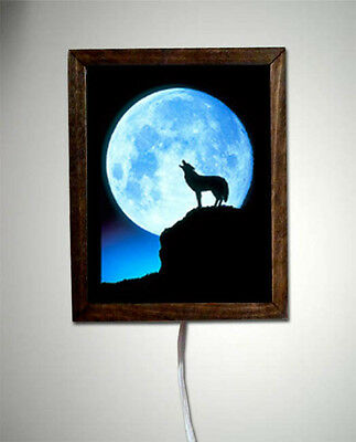 Wolf Wolves Wildlife Southwest Art Lamp Lighted Sign