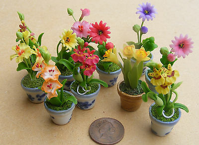 1:12 Scale Mixed Flowers In Ceramic Pots Dolls House Handmade Garden Accessory