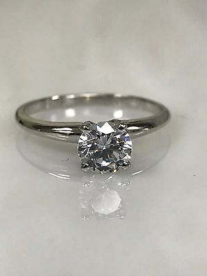 Round Solitaire Engagement  Wedding Ring .65 Ct. 14K White Gold #4430
