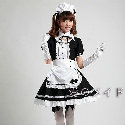 Japanese Maid Apron Outfit Waitress Fancy Dress Ruffle Lolita Cosplay 2 Colors