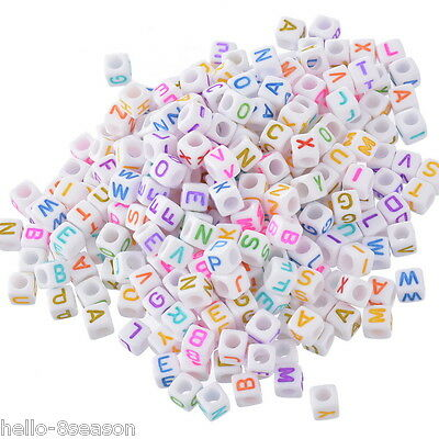 500 Hello Mixed New Alphabet Letter Acrylic Cube Beads 6x6mm