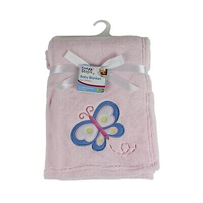 Cute & Snuggly Pink Baby Blanket With Butterfly Design 75cm x 100cm