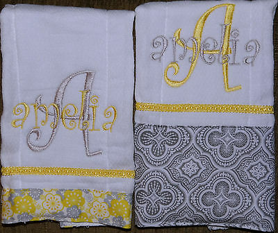 2 Yellow and Gray Floral Personalized Embroidered Burp Cloths