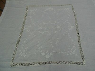 """Vintage Banquet Embroidered Linen Tablecloth  94"""" x 84"""" Clover Reticula Lace APC"""