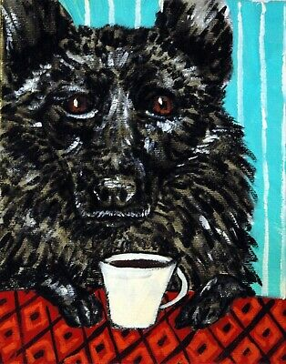 SCHIPPERKE dog coffee art signed reproduction of painting 11x14 JSCHMETZ gift