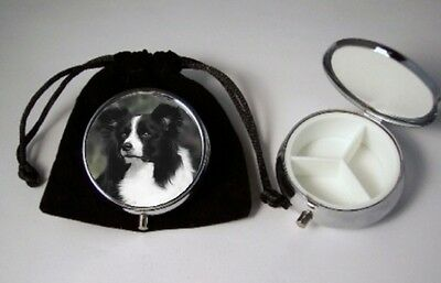 Border Collie Dog Pill Box silver tone 3 compartments with black velour pouch