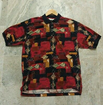 Vintage Reebok Golf 1990's all over print polo shirt sz XL
