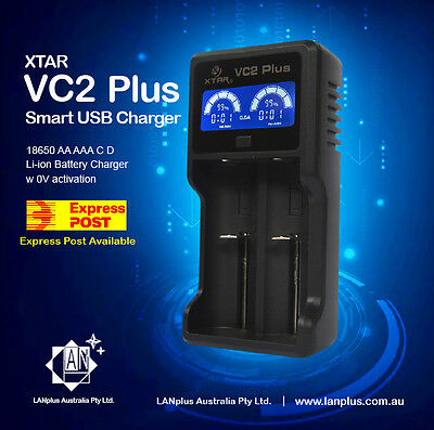 XTAR VC2 PLUS Master LCD 18650 AA AAA C Li-ion Battery Charger w 0V activation