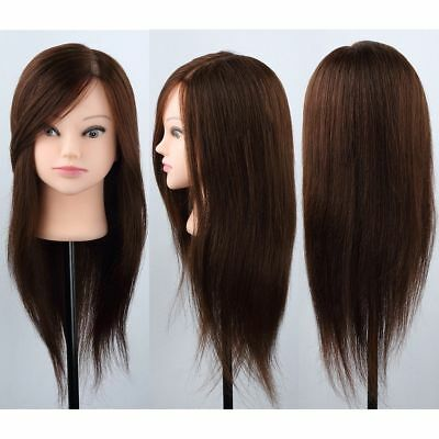 "100% Real Long Hair Maroon 24"" Hairdressing Cutting Training Female Head+Clamp"