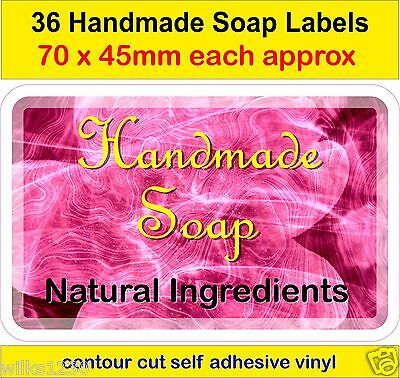 No3 Handmade Soap Making Labels x36 adhesive vinyl Stickers Natural ingredients