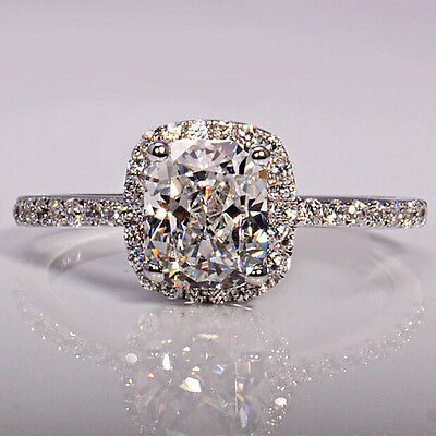 New 3ct Cushion Cut Diamonique Cz 925 Silver Women Wedding Ring Engagement Band