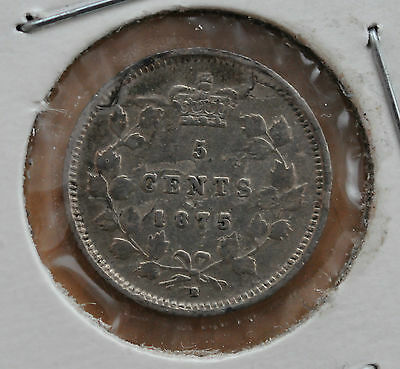 1875H Canada 5-cent Small Date in VF with Planchet flaw