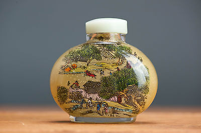 Vintage 20th c! Inside Painted Landscape Snuff Bottle Lady 20th c Chinese