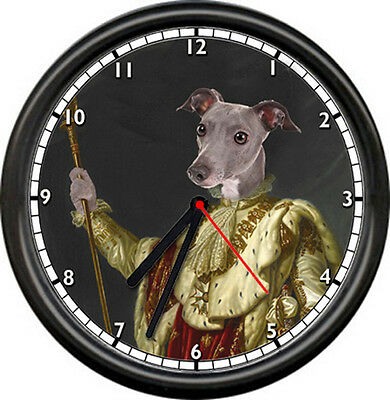 Italian Greyhound Royalty Pet Store Groomer Animal Show Breed Sign Wall Clock
