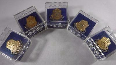 Vintage Lot 5 Safe Driver Award Lapel Pins Years 5 7 9 11 13 Gold Tone Screw on