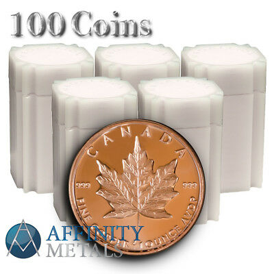 100 Coins Canada Maple Leaf 1 AVDP Oz .999 Pure Copper Rounds In Mint Tubes