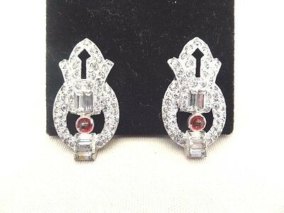 Dazzling ART DECO Faux Ruby Jeweled Dress Clips