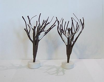 Vintage Christmas Brown Trees with Snow White Bases 5'' (Set of 2) NO BOX (T1#6)
