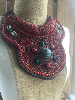 Nepalese Tibet Red Bib Collar Necklace Beads Coral Turquoise Cowrie.