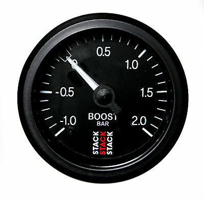 Stack Mechanical Turbo Boost Pressure Gauge -1 To +2 Bar Black Face 52mm Dia
