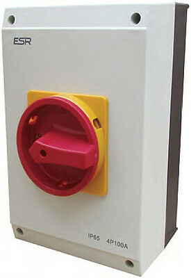 125 Amp 4 Pole Rotary Isolator Switch Disconnector 3 phase 42kW Waterproof TP&N