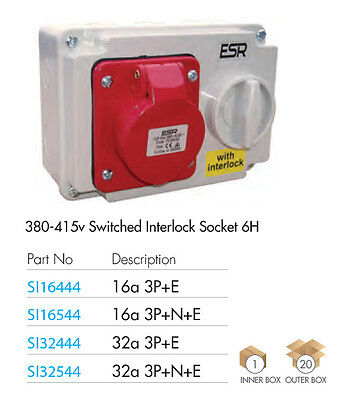 ESR IP44 Industrial Switched Interlocked Socket 415V Red 32A 3 Pin + Earth