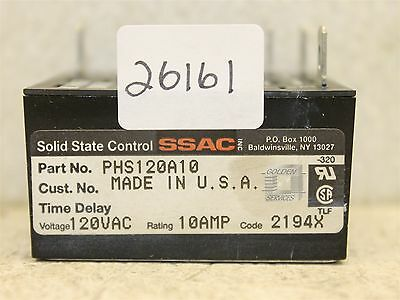 SSAC PHS120A10 Solid State Control Time Delay Relay 120V 10A Code 2194X