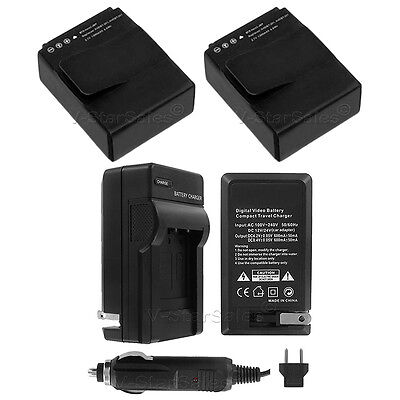 2x AHDBT 301/201 Replacement  Battery For GoPro HD Hero3 and AC/DC Charger