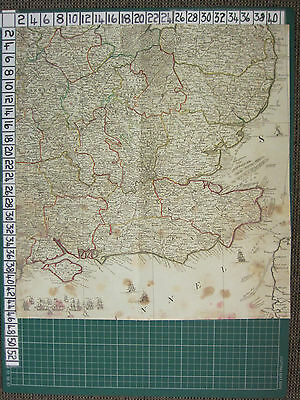 1782 ANTIQUE PART MAP S.W. ENGLAND ISLE of WIGHT  ROBERT SAYER ~ THOMAS KITCHIN