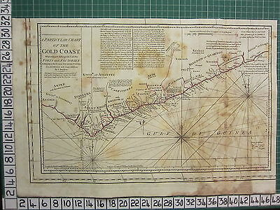 1782 Antique (Part) Map ~ Gold Coast Forts Factories Sayer ~ Kitchin