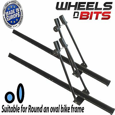 2x UNIVERSAL CAR ROOF BICYCLE BIKE CARRIER UPRIGHT MOUNTED LOCKING CYCLE RACK