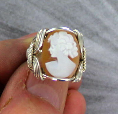 Cameo Shell  Ring In Sizes From 5 To 15 In Sterling Silver Wire Wrapped