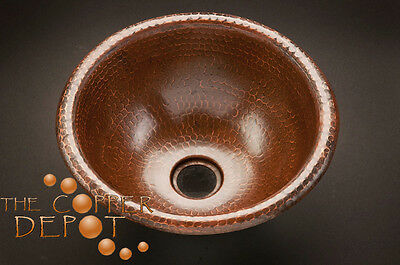 """Small 12"""" Copper Round Drop-In Hammered  Bathroom Sink"""
