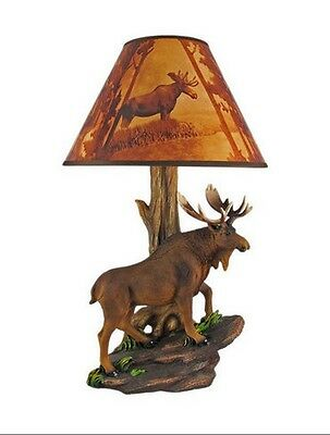 """Bull Moose Table Lamp with Shade Light North American Wild Animals 20"""" Tall New"""