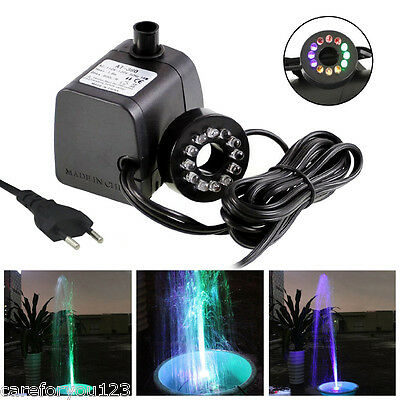 270GPH 15W Submersible Water Pump LED Light Aquarium Hydroponics Pond Fountain