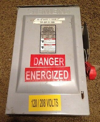 Siemens Heavy Duty Safety Disconnect Switch HFC322NR 60 Amp 240 Volt Fusible 3R