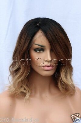 100% Brazilian Remy Human Hair Ombre Short Wavy Full Lace Wig Lace Front Wigs