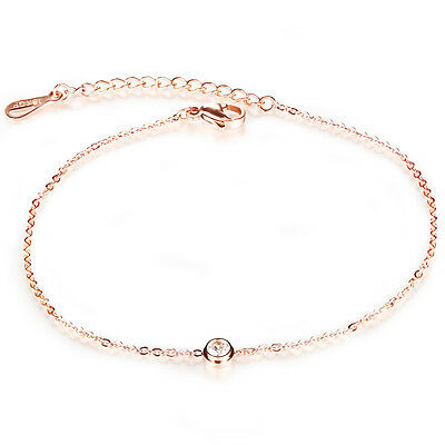 Round Cut Moissanite Rose Gold Gp Surgical Stainless Steel Ankle Bracelet