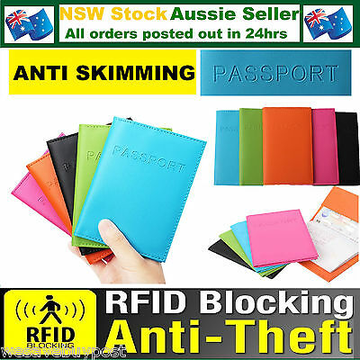 RFID Passport Wallet Anti Scan Blocking Synthetic Leather Travel  Cover Holder