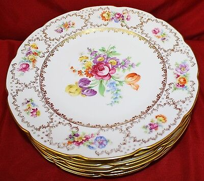 """Schumann, Bavaria, Germany US Zone, FLORAL  - 11"""" Plates/Chargers - Set 8 - MINT"""