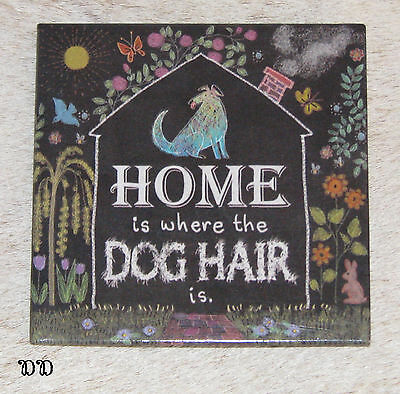 "LEANIN TREE ""Home Is Where The Dog Hair Is."" Magnet ~ 2.5"" x 2.5"" ~ #26487 ~"