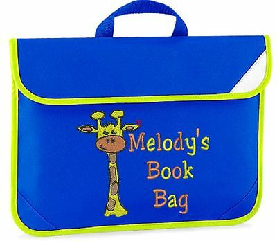 Personalised Embroidered Kids book bag for school- Giraffe design any name!