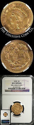 1878 Indian Princess Gold $3 NGC UNC DETAILS OBV SCRATCHED