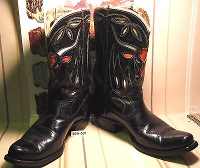 ANTIQUE Kids ACME SHORTY COWBOY BOOTS with CUTOUTS & Square Toes MAKE OFFER